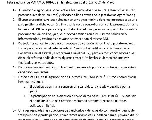 Comunicado Oficial de Votamos Buñol