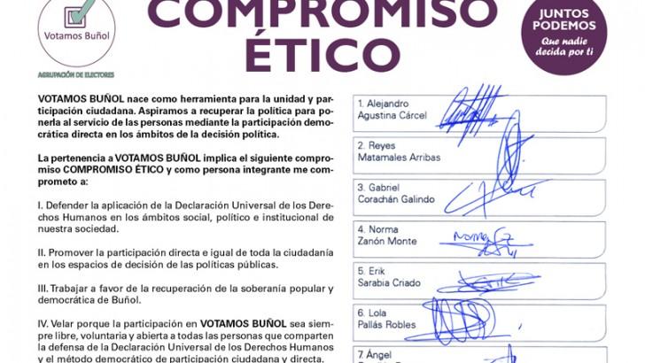 Votamos Buñol hace público el compromiso ético firmado por sus candidatos