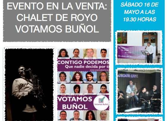 Votamos Buñol organiza un evento en el Chalet de Royo esta tarde