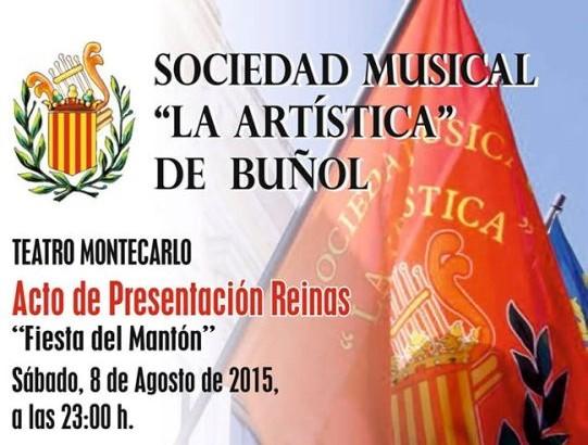 """""""La Artística"""" de Buñol presenta este sábado a sus Reinas del Mantón y a su Representante"""