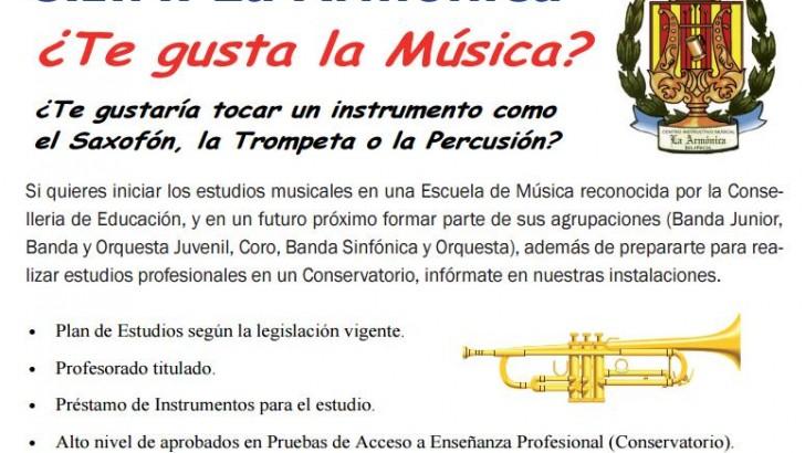 """La Escuela de Música """"Manuel Carrascosa"""" de """"La Armónica"""" de Buñol inicia el curso el 16 de septiembre"""