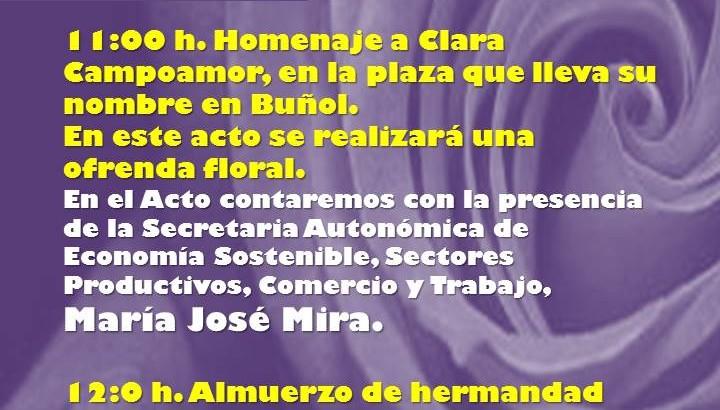 El PSOE de Buñol realiza este sábado su homenaje a la mujer