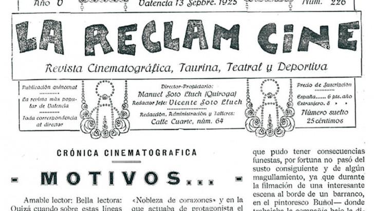 El rodaje en 1925 de cine mudo  Nobleza de corazones en Buñol  pudo acabar en tragedia