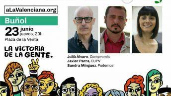 Compromís, Podemos y EU despiden la campaña esta tarde en la Plaza de las Ventas de Buñol