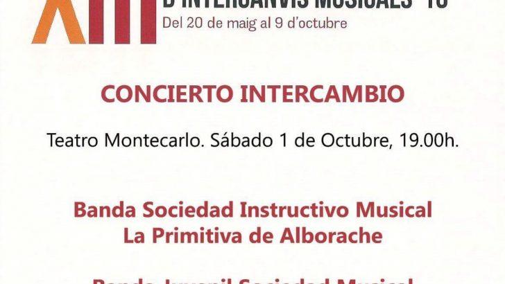 """La Banda Juvenil de """"La Artística"""" de Buñol realiza un concierto de intercambio con """"La Primitiva"""" de Alborache"""