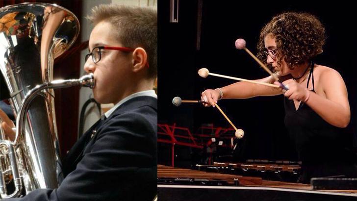 """Dos jóvenes músicos de """"La Artística"""" de Buñol premiados en concursos internacionales y nacionales"""