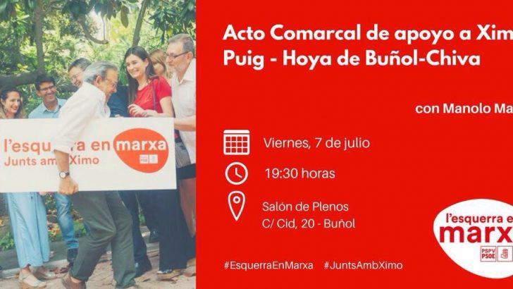 El PSOE celebra un acto comarcal en Buñol de apoyo a Ximo Puig