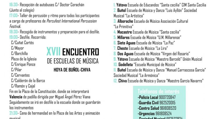 El XVII Encuentro comarcal de Escuelas de Música de La Hoya se celebra este sábado en Chiva