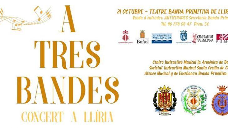 """""""La Armónica"""" de Buñol participa este sábado en el segundo concierto """"A Tres Bandes"""" en Llíria"""