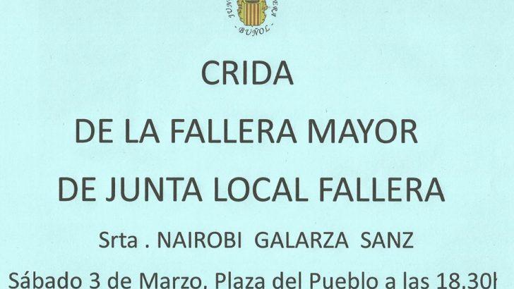 """La """"crida"""" y la exposición del """"ninot"""" abren los actos falleros este sábado en Buñol"""
