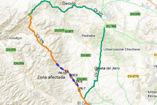 La Diputació cortará la CV-379 entre Chiva y Gestalgar del 20 al 22 de junio para mejorar el tramo más deteriorado