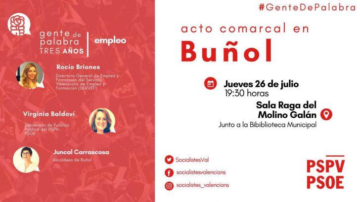 El PSOE de Buñol organiza este jueves un acto comarcal sobre empleo